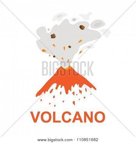 eruption of a volcano, logo illustration