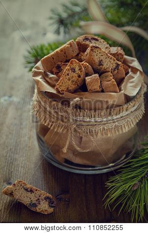 Biscotti cookies in glass jar
