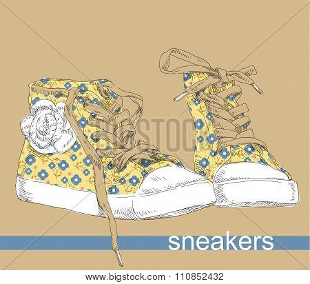 Hand drawing sneakers shoes.
