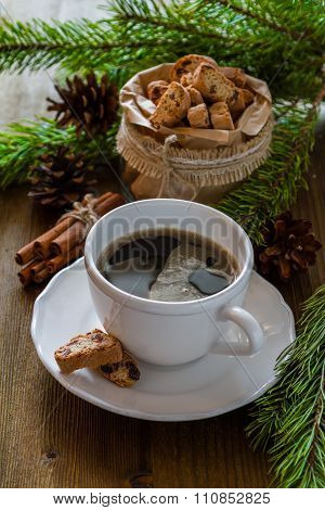 Coffee and italian cookies biscotti, christmas tree