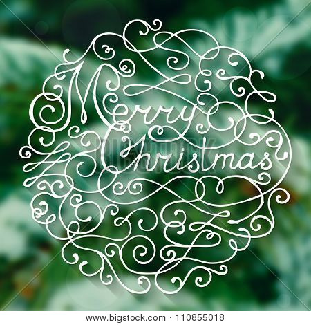 Vector Christmas Card With Handwritten Lettering.