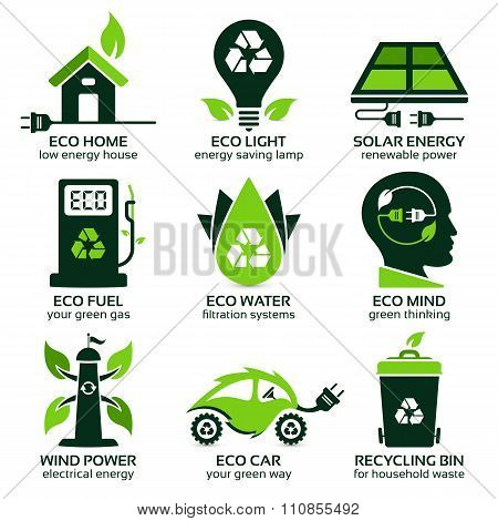Eco Flat Symbols Promoting Green Lifestyle In The Household