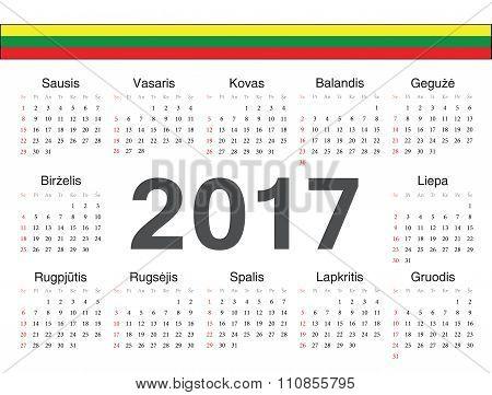 Vector Lithuanian Circle Calendar 2017