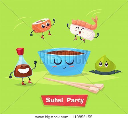 Sushi party. Soy sauce and sushi roll. Japanese food. Vector cartoon.