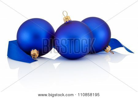 Three Blue Christmas Balls And Ribbon Isolated On White Background