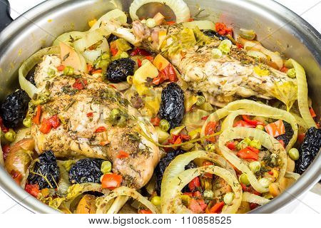 Healthy Food, Stewed Dietary Rabbit Meat With Various Vegetables In Pan, Close-up View