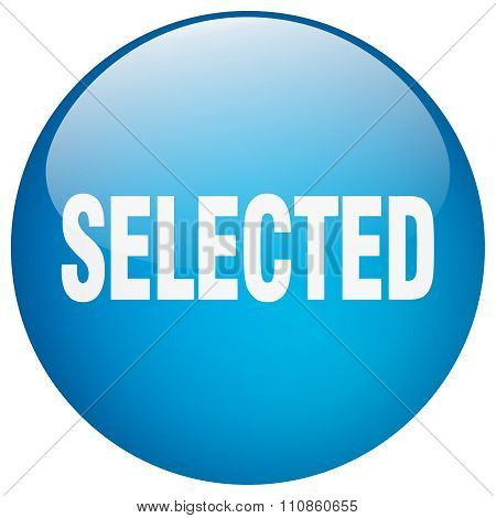 Selected Blue Round Gel Isolated Push Button