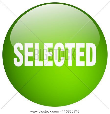 Selected Green Round Gel Isolated Push Button