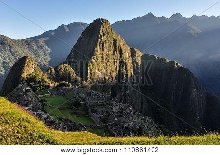 Sunrise At Machu Picchu, The Sacred City Of Incas, Peru