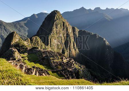 After Sunrise At Machu Picchu, The Sacred City Of Incas, Peru