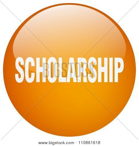 Scholarship Orange Round Gel Isolated Push Button