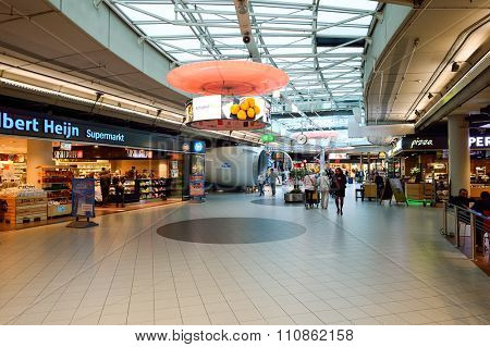 AMSTERDAM, NETHERLANDS - NOVEMBER 17, 2015: interior of Amsterdam Airport. Amsterdam Airport Schiphol is the main international airport of the Netherlands.
