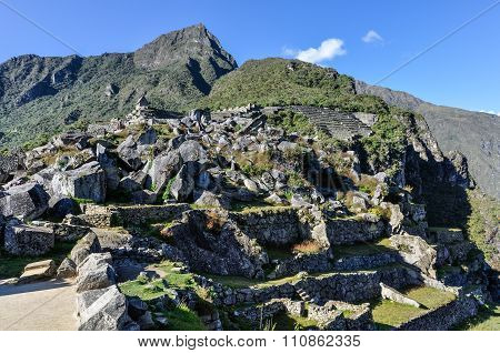 Ruins From Below At Machu Picchu, The Sacred City Of Incas, Peru