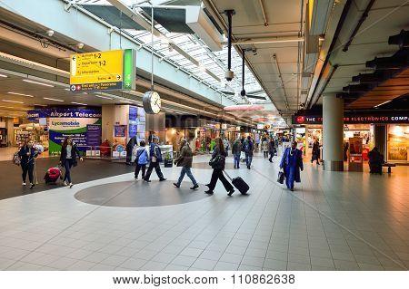 AMSTERDAM, NETHERLANDS - NOVEMBER 17, 2015: interior of Amsterdam Airport. Amsterdam Airport Schiphol is the main international airport of the Netherlands.
