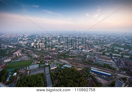Bird's Eye View Of Moscow At Dawn