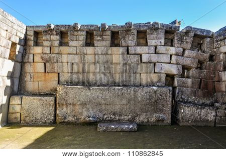 Walls From Huge Stones At Machu Picchu, The Sacred City Of Incas, Peru