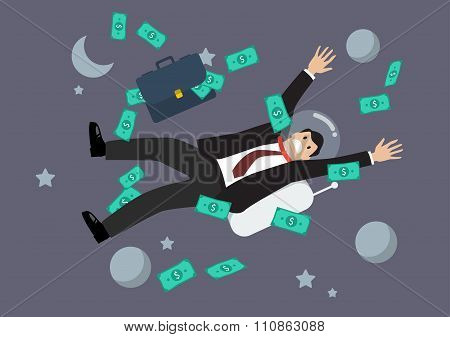 Greedy Businessman Floating In The Space