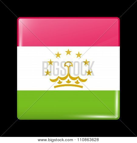 Flag Of Tajikistan. Glassy Icon Square Shape