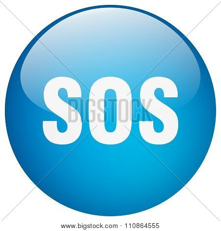 Sos Blue Round Gel Isolated Push Button