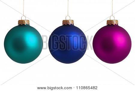 Set Christmas baubles isolated on white background