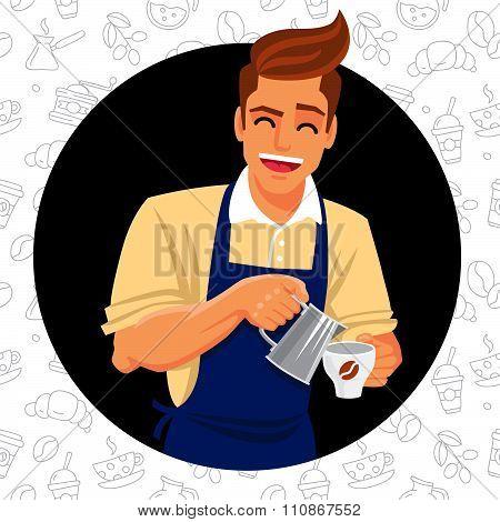 Cute barista prepares coffee