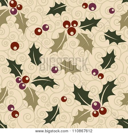 Ilex seamless Christmas background