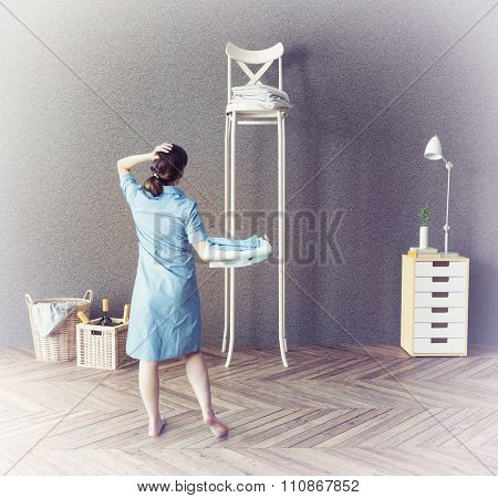 the woman and the long chair  in the room. Photo-combination  concept