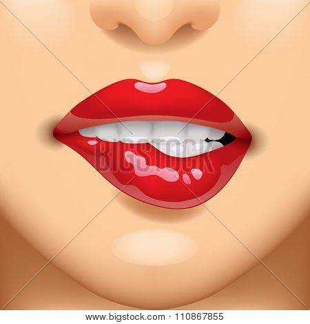 Female sexy glossy red lips on the face. Vivid opened sensual mouth of woman with teeth biting her lips. Vector illustration