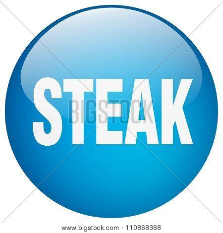 Steak Blue Round Gel Isolated Push Button