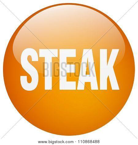 Steak Orange Round Gel Isolated Push Button