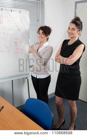 Side View Of Two  Confident Businesspeople Working On Flipchart