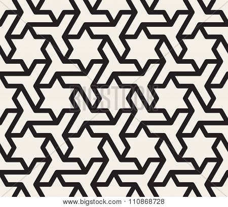 Vector Seamless Black And White Geometric Star Triangle Shape Tessellation Pattern