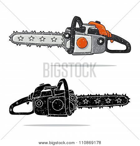 Chainsaw. Vector icons on a white background