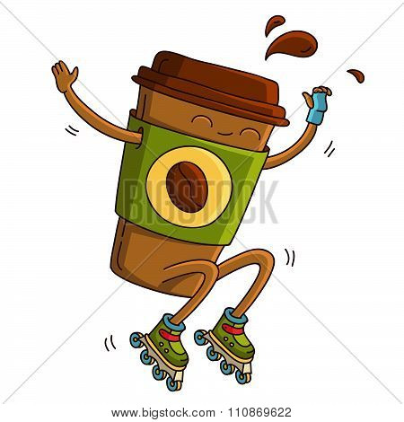 Cute cup of coffee riding on roller skates