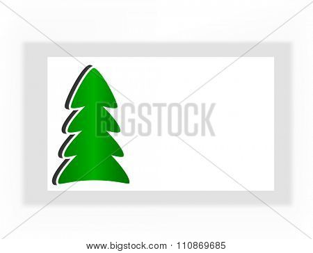 simple white Christmas card with green tree, vector illustration.