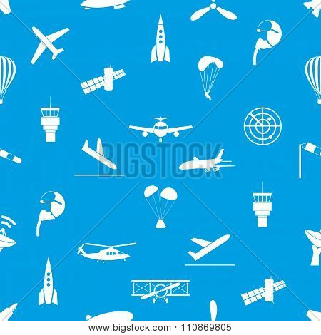 Aviation Icons Blue And White Seamless Pattern Eps10