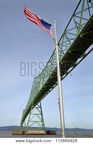 Astoria Bridge and Flag, Oregon
