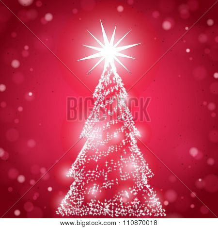 Sparkling Christmas Tree on the red background with lights