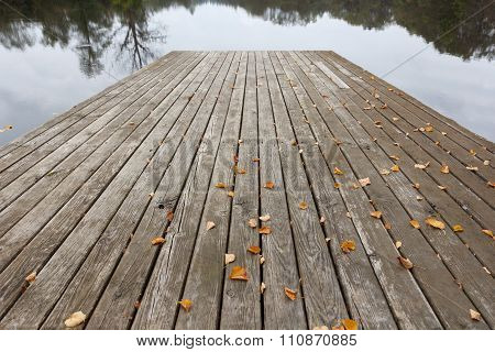Wood planks above water