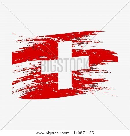 Color Swiss National Flag Grunge Style Eps10