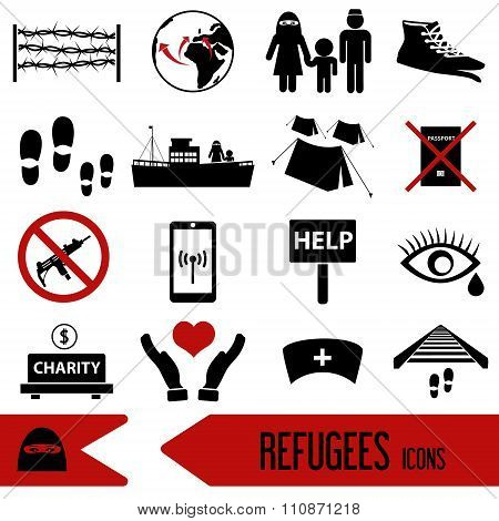 Various Simple Refugees Theme Icons Set Eps10