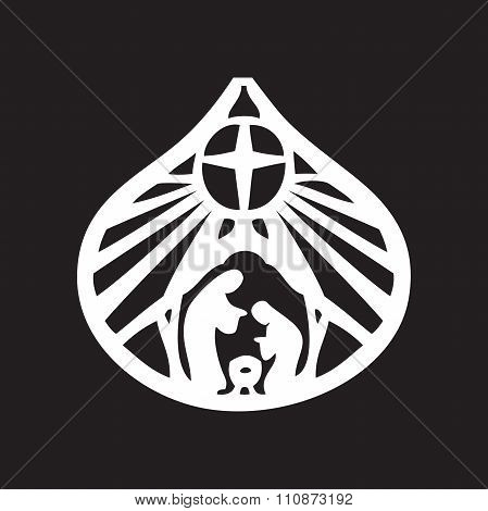 Holy Family Christian Silhouette Icon Vector Illustration On Black Background