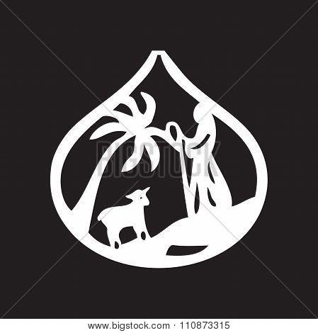 Jesus Leader Sheep Silhouette Icon Vector Illustration