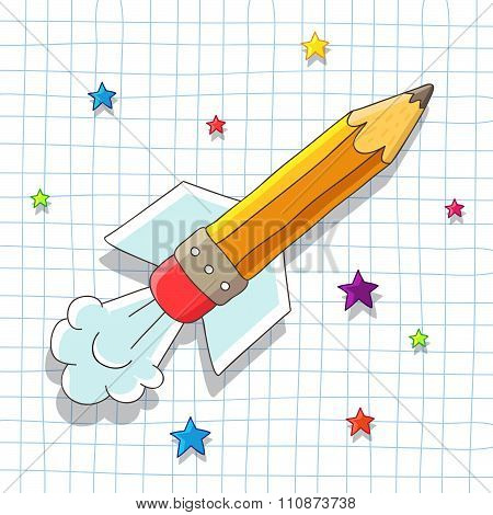 Pencil Rocket soars in the stars