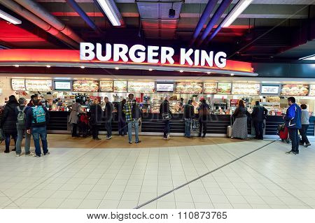 AMSTERDAM, NETHERLANDS - NOVEMBER 17, 2015:  interior of Burger King restaurant in Amsterdam Airport Schiphol. Burger King is a global chain of hamburger fast food restaurants