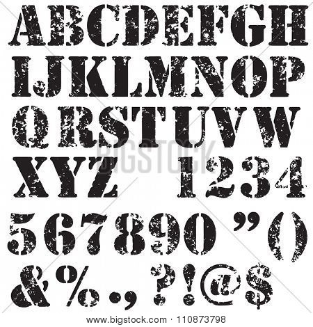 Grunge full alphabet and numbers in black isolated on white. Stamp stencil letters. Vector font.