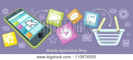 Mobile Application Shop Flat Design