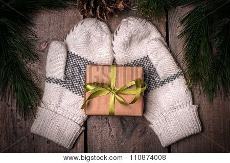 Christmass Gift Box And Mittens