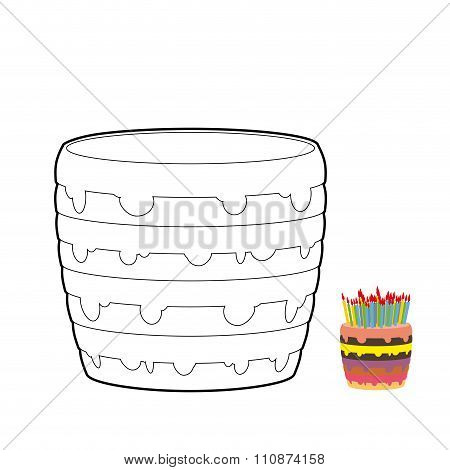 Cake Coloring Book. Confectionery For Birthday. Sweetness For Holiday. Multi-layer Birthday Cake Wit
