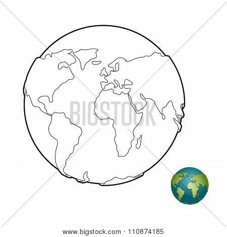 Earth Coloring Book. Heavenly Body. Planet With Mainlands. Globe For Coloring.